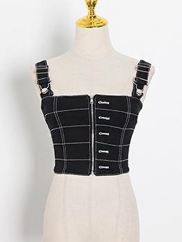 Printed Zipper Tank Tops For Women