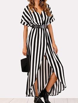 Fashion Stripe Short Sleeve Split Maxi Dress
