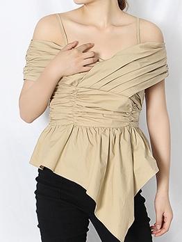 Trendy Irregular Hem Off Shoulder Blouse