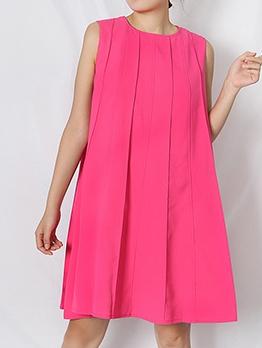 Boutique Simple Design Loose Short Sleeveless Dress
