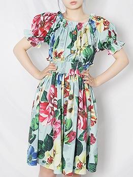 Flower Print Elastic Waist Short Sleeve Dress