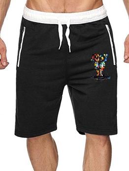 Printed Drawstring Solid Color Half Pants