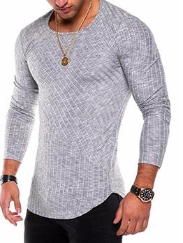 Plain Crew Neck Long Sleeve T Shirts For Men