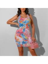 Hot Sale U Neck Tie Dye Bodycon Dress For Summer