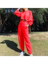Solid Color Crop Hoodies Women Sets Casual