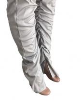Lips Print Crop Top Stacked Sweatpants Set