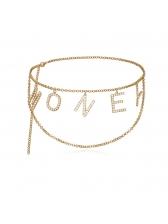 Trendy Rhinestone Letter Chain Belt Clothing Accessories