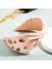 Geometric Rhinestone Knotted Cloth Female Headband