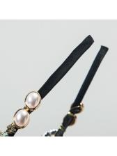 Noble Style Faux Pearl Rhinestone Shiny Thin Headband
