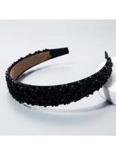 Minimalist Style Black Beads Patchwork Cloth Ladies Headband