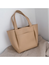 PU Solid Color Large Capacity Tote Bag