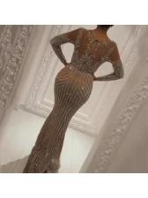 Crew Neck Foil Printing Long Sleeve Evening Dresses