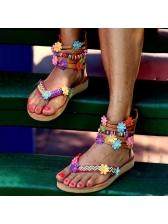 Bohemian Petal Flower Patchwork Flip Flop Summer Sandals