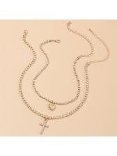 Temperament Rhinestone Heart Pendant Layered Cross Necklace