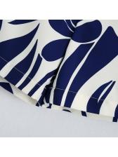 Nave Blue Flower Print Women Short Pants