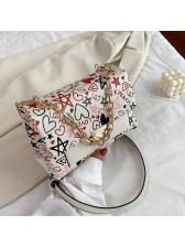 Graffiti Printed Chain Pu Women Shoulder Bags