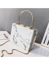 Marble Chain Box Shopping Women Shoulder Bag
