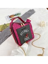 Sequins Letter Chain Oil Can Package Shoulder Bag