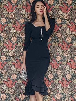 Elegant Solid Mermaid Black Ladies Dress