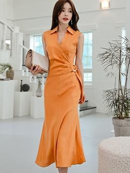 Mermaid Design Solid Sleeveless Shirt Dress