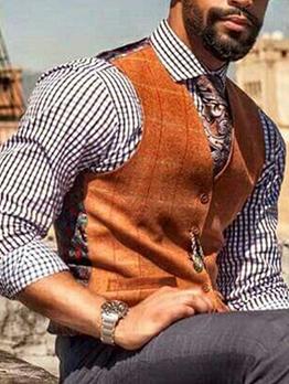 Vintage Style Print V Neck Mens Vest
