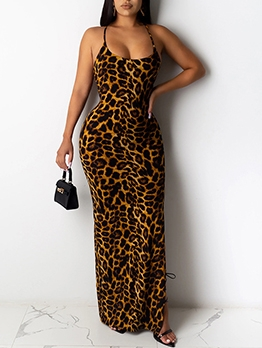 Sexy Leopard Print Backless Women Maxi Dresses