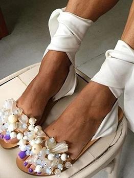 Bohemian Faux Pearl Silk Tied Ladies Sandal
