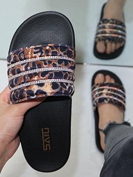 Leopard Rhinestone Non Slip Womens Slippers