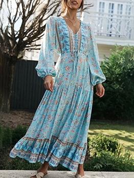 Stylish v Neck Long Sleeve Maxi Dress