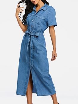 Loose Turn-Down Collar Shirt Maxi Dress