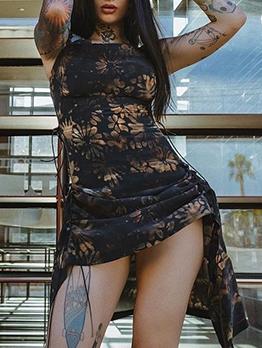 Sexy Nightclub Wind Printed Black Dresses
