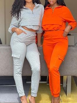 Fashion Casual Zipper Long Sleeve Trouser Set