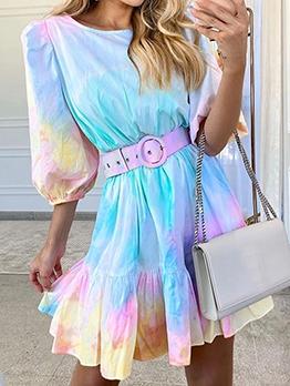 Fashion Lantern Sleeve Tie Dye Ladies Dress
