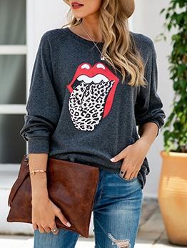 Loose Lips Printed Long Sleeve Sweatshirt