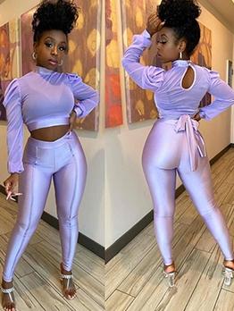 Mock Neck Puff Sleeve Purple Crop Top Pants Set