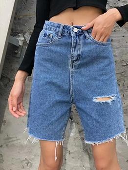 Fashion Solid High Waist Denim Fifth Pants