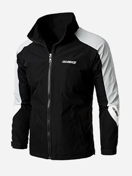Turndown Neck Colorblock Zipper Up Jacket