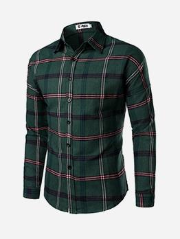 Single-Breasted Plaid Long Sleeve Mens Shirt