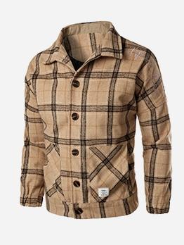 Woolen Fabric Plaid Long Sleeve Coat For Men