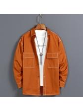 Solid Color Pockets Long Sleeve Jacket For Men