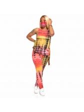 Summer Sleeveless Tie Dye Ladies Set Without Mask