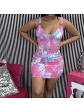 Backless Tie Dye Zipper Summer Dress