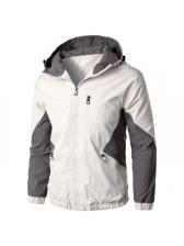 Contrast Color Zipper Up Hooded Mens Jacket