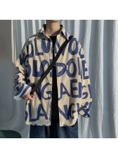 Letter Print Long Sleeve Corduroy Shirt For Men