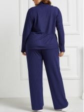 Plus Size Solid Loungewear Two Piece Sets