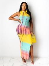 Casual Contrast Color Vent Maxi Dress