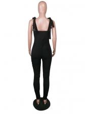 Solid Fold Shoulder Drawstring Women Skinny Jumpsuit