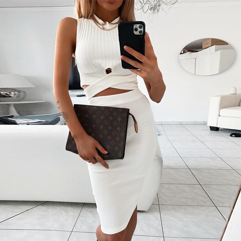 Solid Sexy Sleeveless White Skirt Set