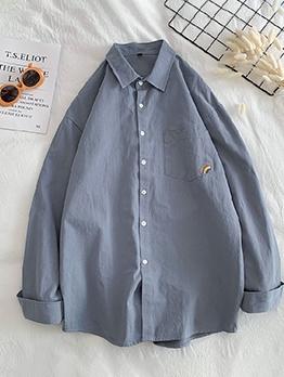 Rainbow Print Pockets Long Sleeve Casual Shirt