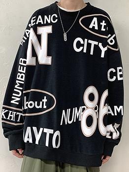Crew Neck Letter Print Oversize Pullover Sweatshirt